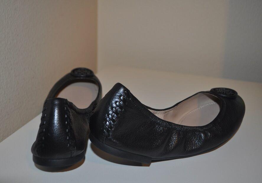 Nuevo  250+ Tory Burch Allie Ballet Zapato Negro de cuero cuero de con logotipo en la bailarina plana 7.5 M 304029