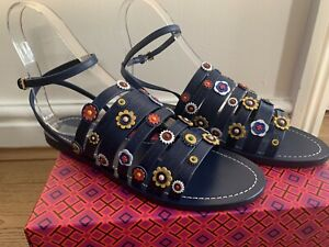 0c8befb6c bn tory burch marguerite floral flat leather sandals in navy size uk 7.5 ...