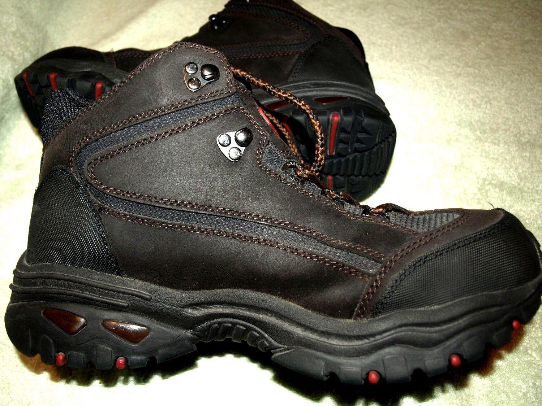 nuevo  Skechers Para Para Para Hombres Cuero Negro acero del dedo del pie, botas de trabajo, clase 75, 12M bcb402