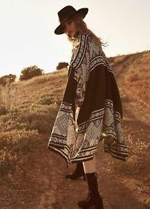 NEW-Free-People-Bazaar-Beauty-Border-Kimono-Sweater-Cardigan-One-Size-XS-S-M-L