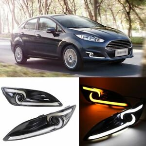 DRL LED Daytime Running Light With Turn Signal Lamp For Ford Fiesta 2013-2015