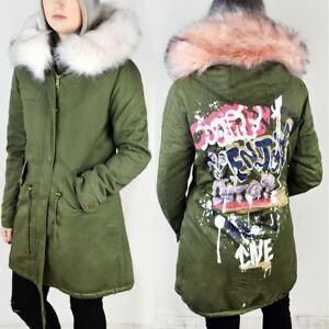 Ladies Womens Khaki Green Jacket Parka Grafitti Punk Retro Faux Fur ... 4e6cecd643be