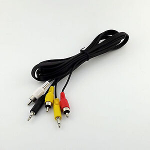 1x-Dual-3-5mm-Male-to-3x-RCA-Male-Plug-Video-Audio-AV-Aux-Cable-Cord-5ft-1-5m