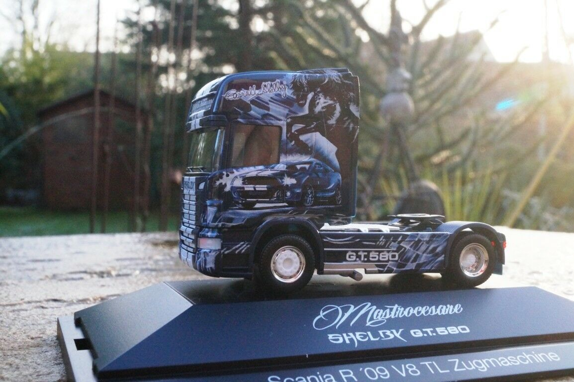Herpa Scania R v8 TL tracteur  Shelby GT 580 Transporteur mastrocesare  (I)
