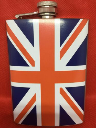 New 8 oz Stainless Steel Union Jack Drinking Flask Stainless Steel Leak Proof