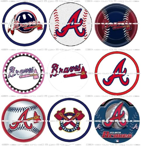 "Atlanta Braves Scrapbooking Bottle Cap 1/"" Stickers Images Set 63 Ct Adhesive"