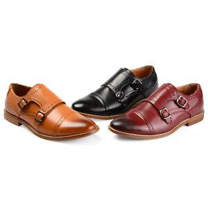 Daxx-Mens-Buckle-Cap-Toe-Faux-Leather-Double-Monk-Strap-Dress-Shoes-New