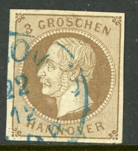 Germany-1861-Hannover-3gr-Brown-SG-29-VFU-G172