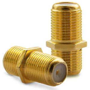 10 x F-Verbinder Gold Premium  Sat Kupplung Kabel F-Buchse F verlängerungsstück