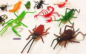 Lot-of-25-insects-assortment-toy-PVC-rubber-BuGs-CReePY-Fake-ant-flies-Assorted