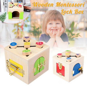 Baby-Kid-Montessori-Educational-Practical-Material-Wooden-Toy-Lock-Latch-Box-J