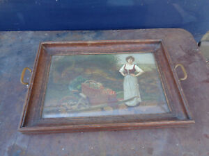 Antique-Plate-Wood-Decoration-under-glass-Barrow-Peasant-Woman-Countryside-BAR