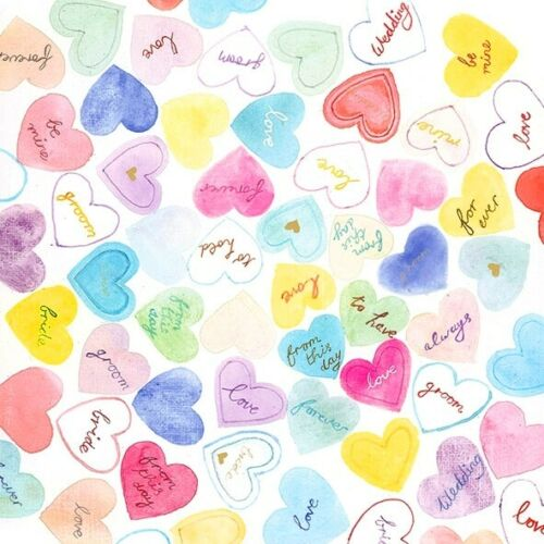 4 x Single Paper Table Napkin//33cm //3-Ply//Decoupage//Sweets//Lovehearts