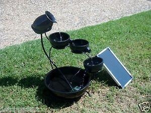 SOLAR-PANEL-POWERED-DC-PUMP-BLACK-4-TIER-CASCADING-CORDLESS-WATER-FALL-FOUNTAIN