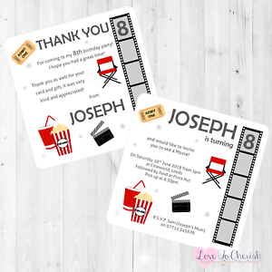 Image Is Loading Movie Film Night Theme Personalised INVITATIONS Boy 039