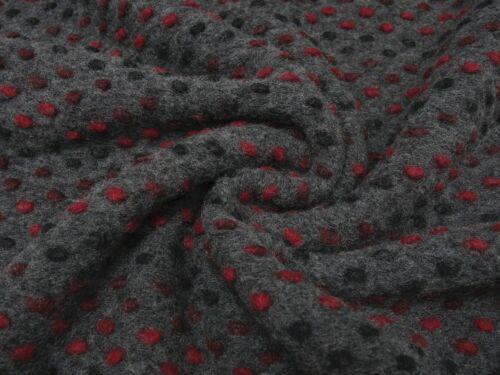 Stoff Ital Musterwalk Walkloden Relief Punkte grau schwarz rot Mantelstoff