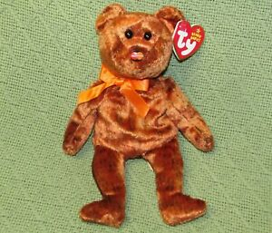 "TY BEANIE BABIES M C MASTERCARD VI TEDDY BEAR  8"" WITH HEART TAG ORANGE RIBBON"
