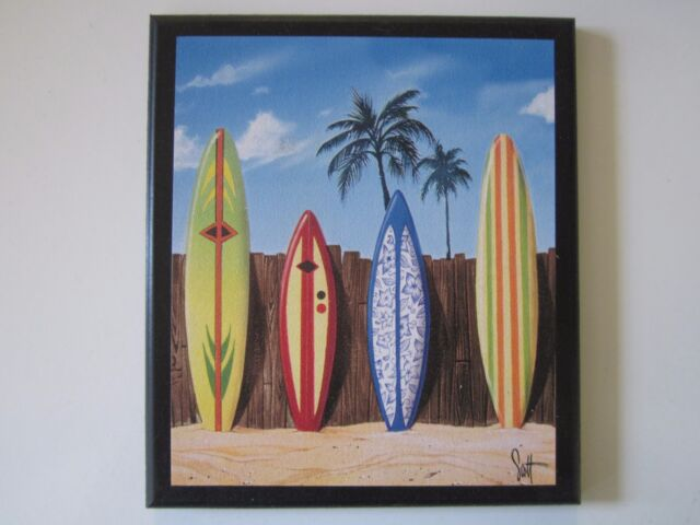 Surfboards Beach Wall Decor Plaque Surfing Style Sign Surfboard ...