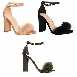 Womens-Ladies-Fluffy-Faux-Fur-Strap-with-Buckle-Strap-Chunky-Block-Heel-Size