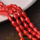 New 15pcs 12X8mm Gold Dust Teardrop Faceted Glass Loose Spacer Beads Red