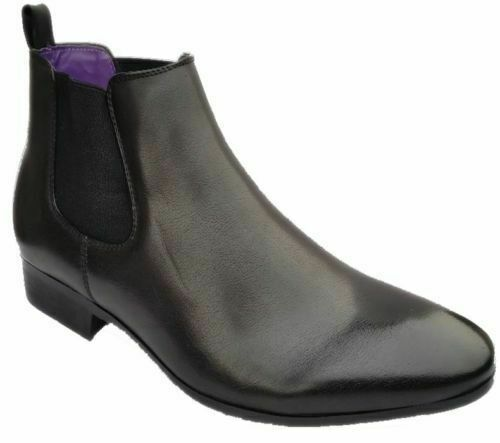 MENS CHELSEA ANKLE BOOTS FAUX LEATHER SMART FORMAL DRESS WEDDING WORK SHOES