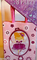 Punch Studio Pink Balerina Fairy Party Gift Bags. Glittered Gorgeous