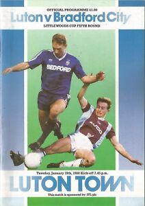 Football-Programme-Luton-Town-v-Bradford-City-League-Cup-19-1-1988