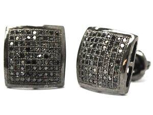 8e9b7059fdba 0.5 Ct.Black Lab Diamond Mens   Ladies Screw Back Square Stud ...