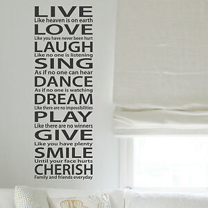 Image Is Loading LIVE LOVE LAUGH Wall Art Quotes Wall Stickers