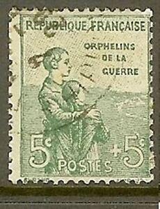 FRANCE-TIMBRE-STAMP-YVERT-149-034-ORPHELINS-DE-LA-GUERRE-5c-5c-VERT-034-OBLITERE-TB