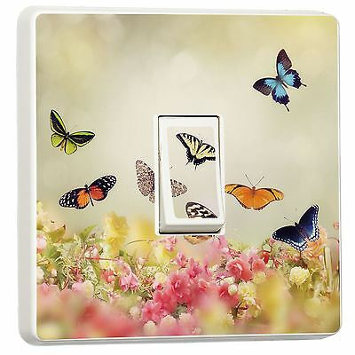 Pink Fairy Princess Butterfly /& Flowers Single Light Switch Cover Skin sticker