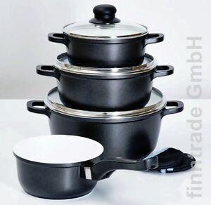 aluguss topfset schwarz keramik beschichtet topfset kochtopfset 7 tlg induktion ebay. Black Bedroom Furniture Sets. Home Design Ideas