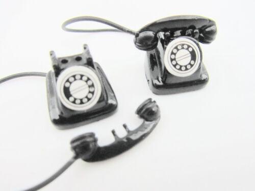 2pc Vintage Black Antique Telephone Miniature Doll House Decor Design//Phone M10
