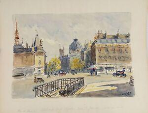 VUE DE PARIS. AQUARELLE SUR PAPIER. A. GUERIN. CIRCA 1940.