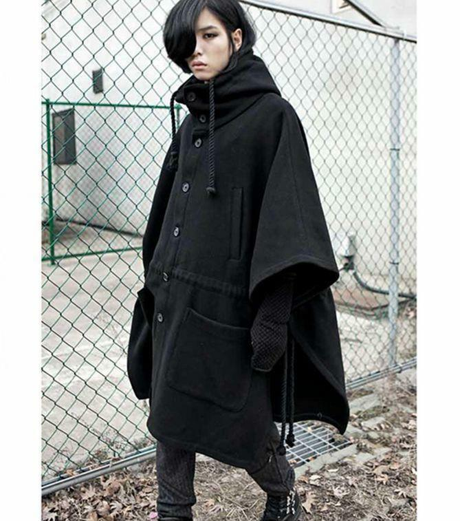 Men's Punk Loose Cloak Hooded Hip-Length Gothic Korean Coat Outwear Solid @SY