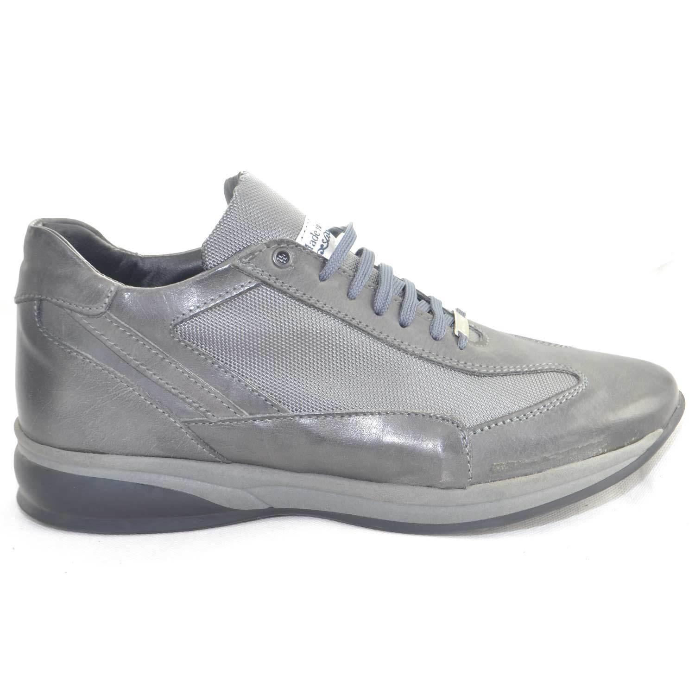 Scarpe made in italy uomo modello comodo comfort antiscivolo tessuto grigio pell