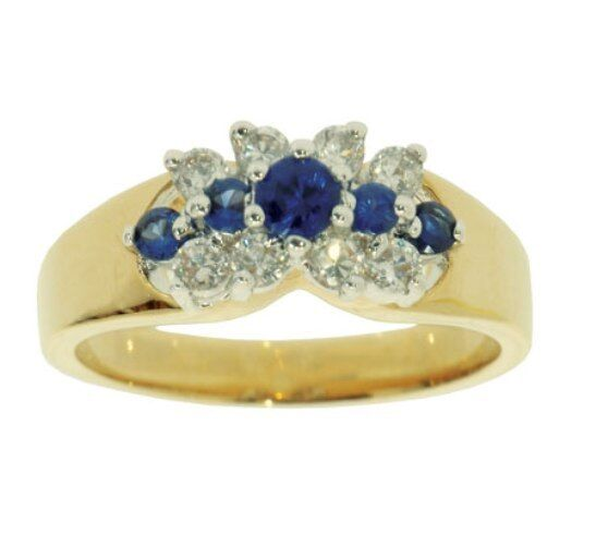 RS-SOO3-N-blue-Bonded gold CZ and bluee Sapphire Ladies Ring Was .00 now .00