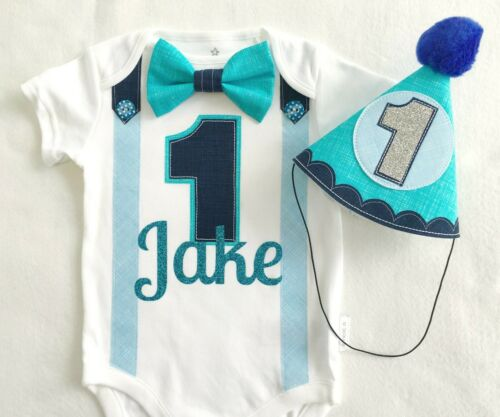 First Birthday Boys Outfit Bestselling Blues Bow Tie Bodysuit with Party Hat
