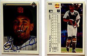 Sandy-Alomar-Jr-Signed-1990-Upper-Deck-655-Card-San-Diego-Padres-Autograph