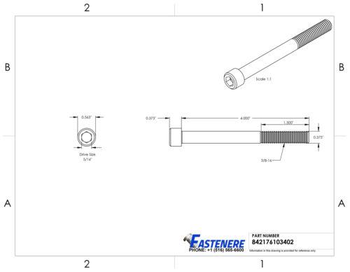 "3//8-16 x 4/"" Socket Head Cap Screws Allen Drive Stainless Steel Bolt Qty 10"