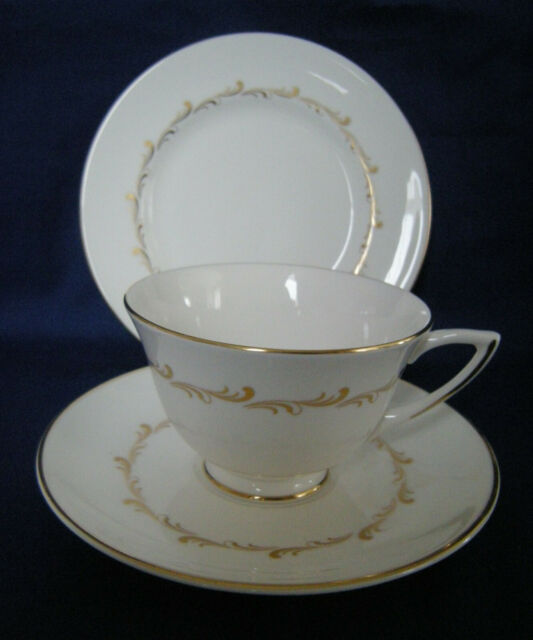 Royal Doulton H4935 RONDO Cup Saucer Plate TRIO  GOLD SCROLLS