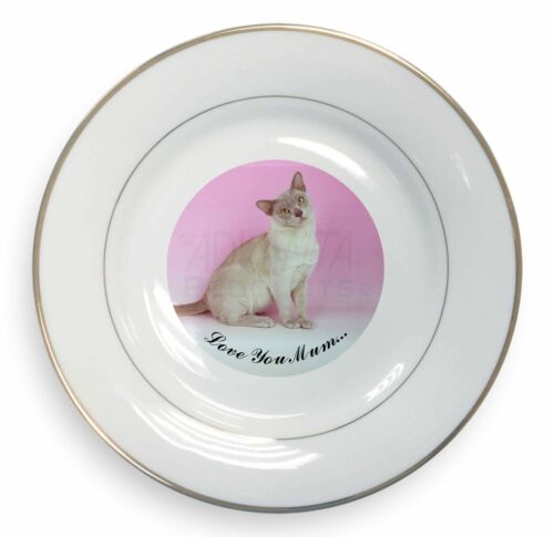 Burmese Cat 'Love You Mum' Gold Rim Plate in Gift Box Christmas Pre, AC32lymPL