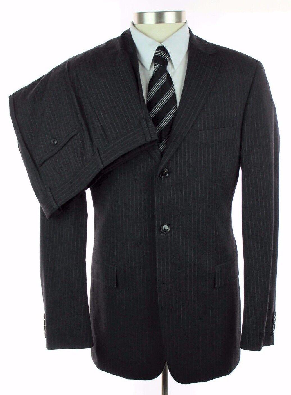 New HUGO BOSS USA Charcoal Grau Stripe Wool Cotton Suit 50 40 40L NWT 895