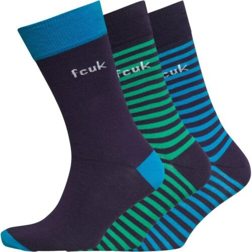 French Connection Mens Stripe Three Pack Socks Deep Purple//Blue