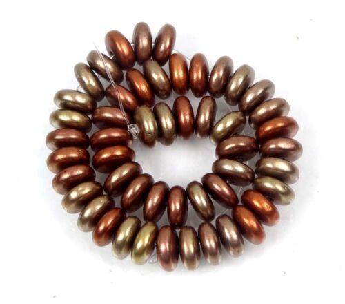 Metallic Gold Iris 6x2mm Matte 50 Czech Glass Rondelle Beads