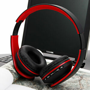 Bluetooth-Wireless-Headset-Stereo-Headphone-Foldable-Microphone-Black-amp-amp-Red