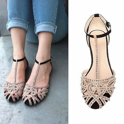 Women's Rhinestone Cut Out T-Strappy Flat Shoes Round Toe Roman Sandals #YY51