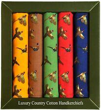 Pack of 5 Soprano luxury 100% cotton pheasant handkerchiefs, 40cm sq hankies