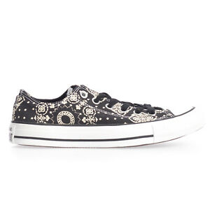Details about Converse Womens Chuck Taylor All Star Ox Black Lace Up Canvas White Pattern