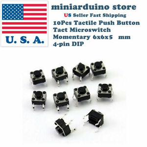 10Pcs-6x6x5mm-PCB-Momentary-Tactile-Tact-Push-Button-Switch-4-Pin-DIP-Micro-Mini